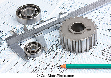 mechanical drawing and pinion