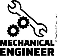 Mechanical engineer with gear wheels and wrench