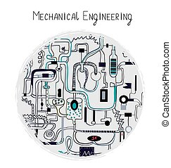 Mechanical engineering abstract background for the card.