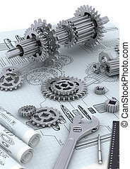 Mechanical and technical engineering concept of designing and building a machine