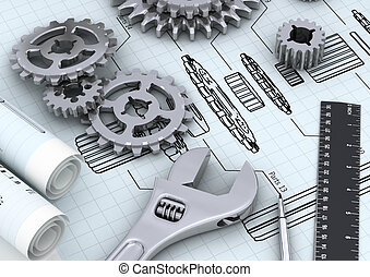 Mechanical and technical engineering concept of designing or repairing a machine