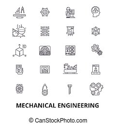 Mechanical engineering, mechanic, electrical, gears, electronic, car mechanic line icons. Editable strokes. Flat design vector illustration symbol concept. Linear signs isolated