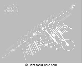Mechanical engineering technology vector abstract background, cybernetic abstraction with innovative industrial schemes.