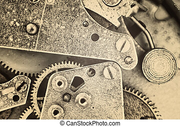 Mechanical Gear Macro Background. Monochrome image.