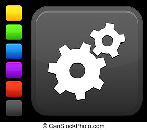 mechanical gears icon on square internet button