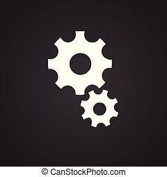 Mechanical gears on black background for app or web using