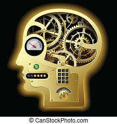 Mechanical head - vector image of silhouette of a human ...