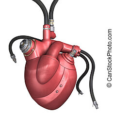 Mechanical Heart on a white background