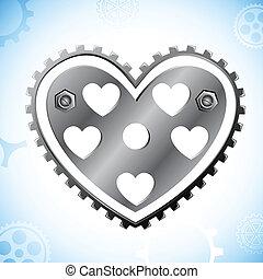 Mechanical Heart - illustration of cog wheel in shape of...