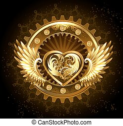 Mechanical heart with wings - mechanical heart with gears of...