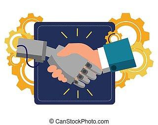 Mechanical human robot handshake . Business make deal metaphor in minimalistic flat style. Cartoon vector illustration