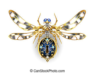 Mechanical insect with steel wings, decorated with gold...