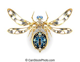 Mechanical insect with steel wings, decorated with gold ...