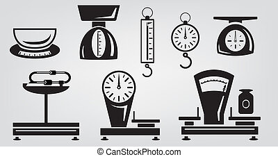 mechanical kitchen scales - vector icons mechanical kitchen...