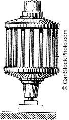 Mechanical Lantern, vintage engraving.