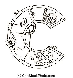 Mechanical letter C engraving vector illustration. Font art...