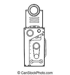 Mechanical letter I engraving vector illustration. Font art....