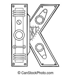 Mechanical letter K engraving vector illustration. Font art....