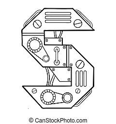 Mechanical letter S engraving vector illustration. Font art....