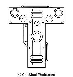 Mechanical letter T engraving vector illustration. Font art....