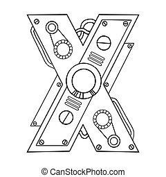 Mechanical letter X engraving vector illustration. Font art....