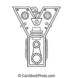 Mechanical letter Y engraving vector illustration. Font art....