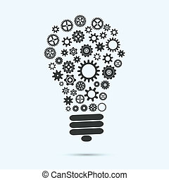 Mechanical light bulb with gears and cogs innovation concept...