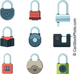 Mechanical lock. Padlock safety symbols vector flat pictures set