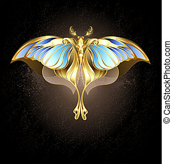 Mechanical Moth - Moth of gold and bronze with glass, blue ...