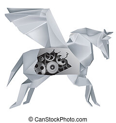 Imaginary mechanical origami Pegasus with a hole in the hull, revealing gears Vector illustration