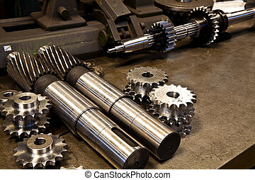 Mechanical parts for heavy industry at an industrial...