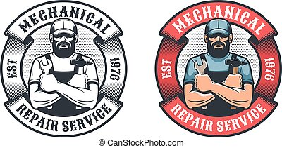 Mechanical repair service retro logo