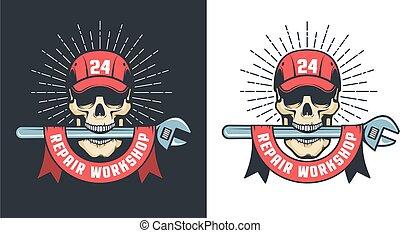 Mechanical Repair workshop wintage logo with skull in cap and big spanner
