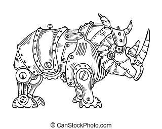 Mechanical rhinoceros animal engraving vector illustration. ...