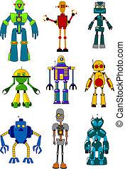 Mechanical robots set in cartoon variations. Vector...