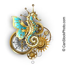 Composition from mechanical seahorse (Hippocampus), gears and an antique compass on white background.