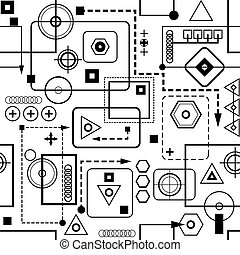 Mechanical seamless pattern 2.0 Black-and-white version