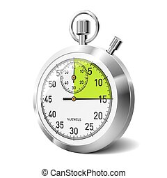 Vector illustration of a mechanical stopwatch with green 15 sec segment
