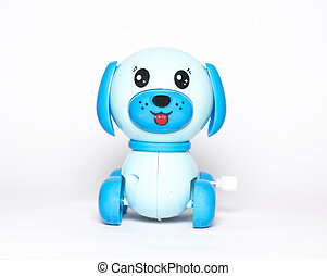 mechanical toy dog - toy dog with wind-up mechanism on white...