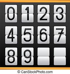 Mechanical Vector Scoreboard. With numbers 0-9, vector ...