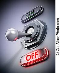 Mechanical vintage on off button. 3D illustration