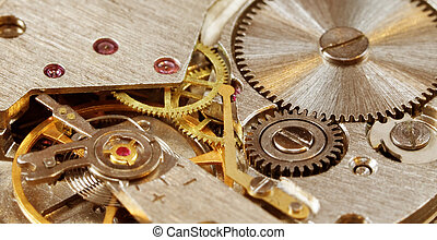 Mechanical watch close-up - Macro-photo of interiors of a...
