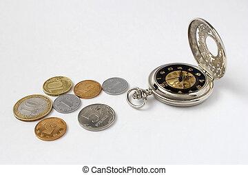 Mechanical watch on a white backgroun