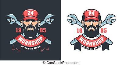 Mechanical workshop retro emblem - worker and adjustable wrench