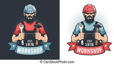Mechanical Workshop vintage logo - handyman in hard hat with hammer and wrench