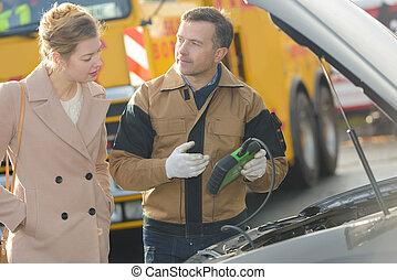 mechanický, mluvil ku, samičí, zákazník, kolem, vagón stříkačka