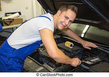 mechanický, s, otesat dlátem, do, garáž, dobrý stav, ta, motor, o, jeden, vůz