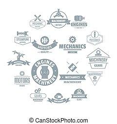 Mechanics logo icons set, simple style