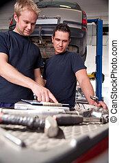 Mechanics Looking at Work Order