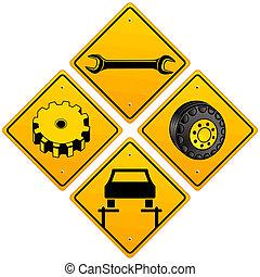 Mechanics repairing car sign